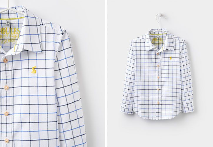joules checked boys shirt