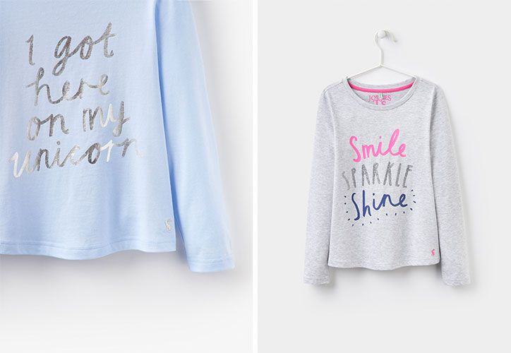 joules printed jersey girls tops