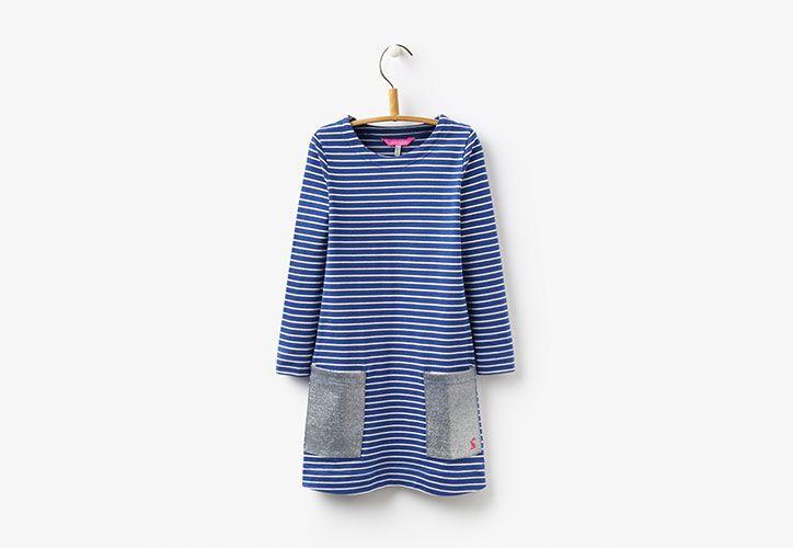 joules striped navy girls dress