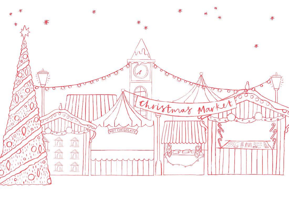 illustration of christmas markets around the UK