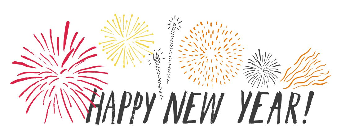 happy new year and fireworks illustration