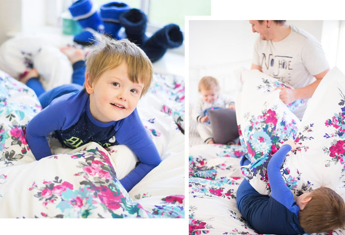 children playing around in joules nightwear