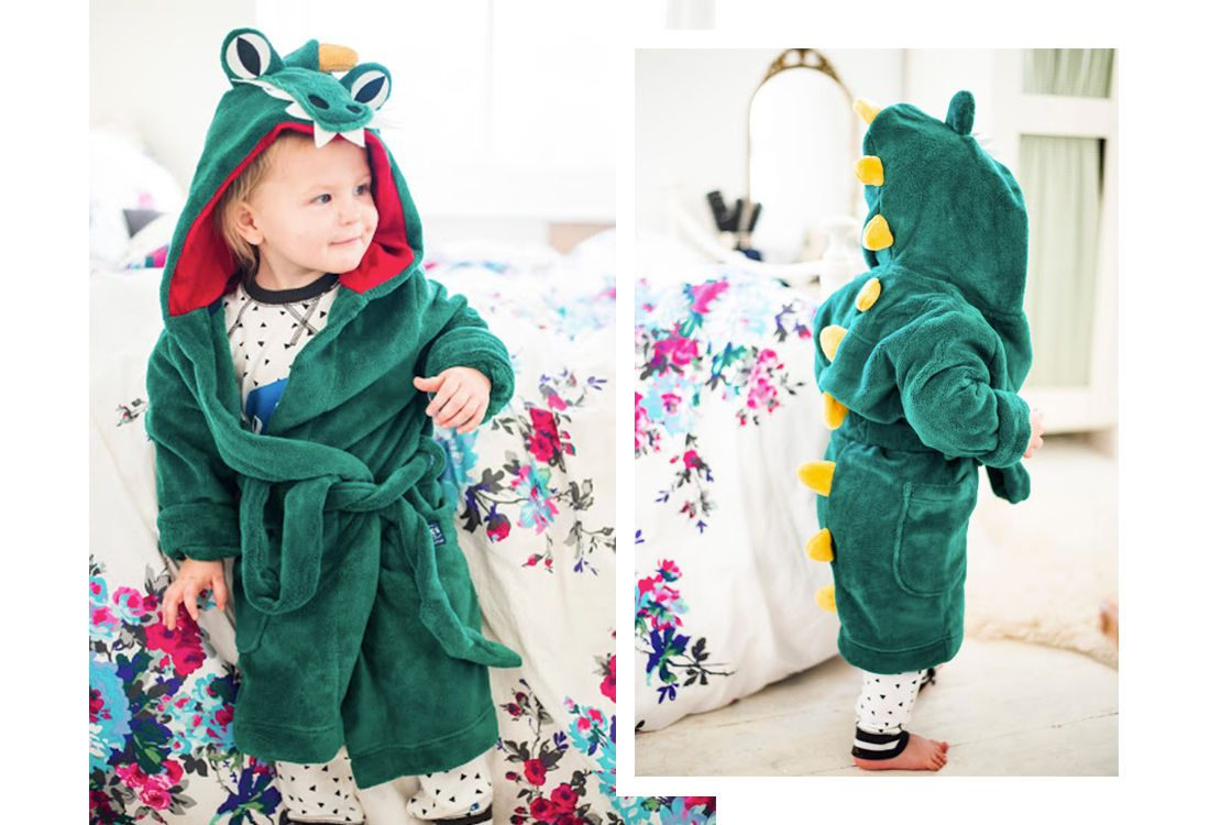 joules dino character dressing gown for boys