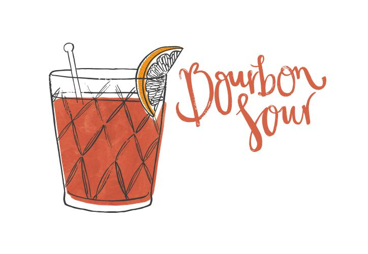 illustration of bourbon sour cocktail