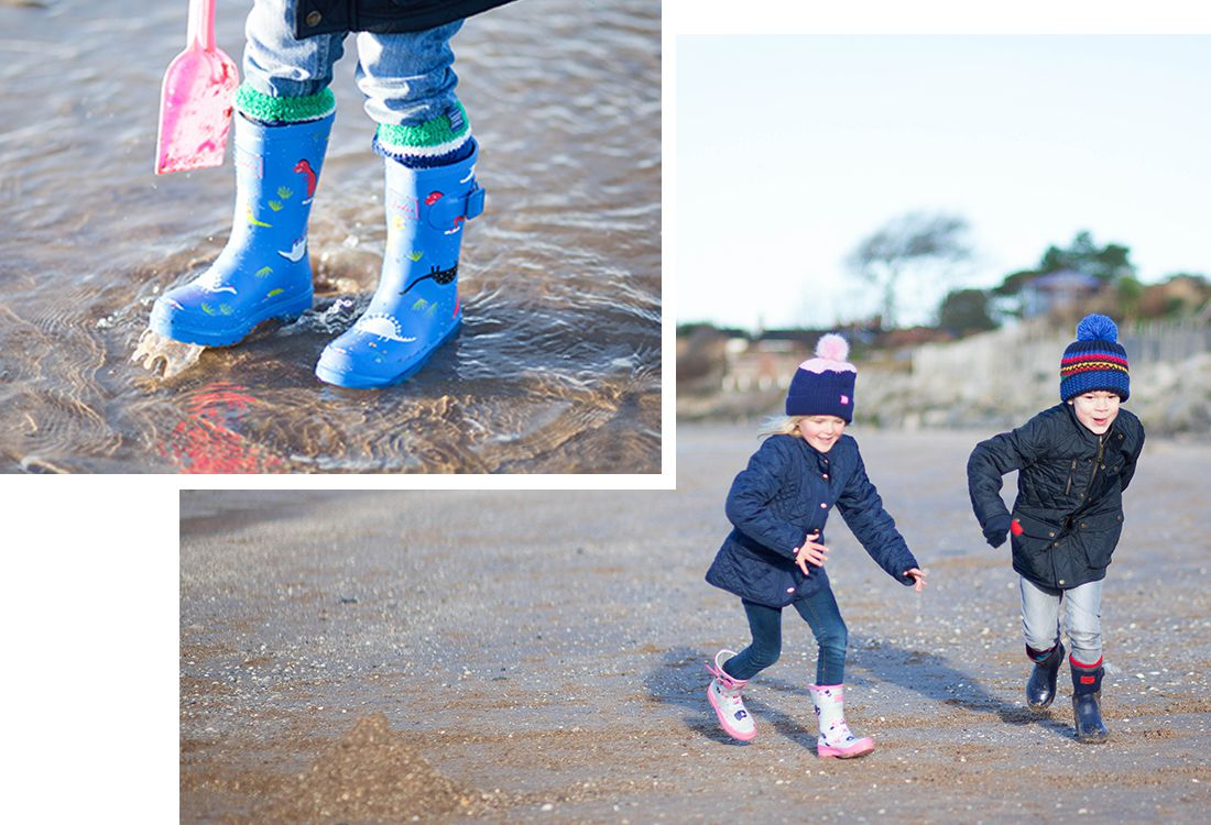 joules printed wellies modeled by chidlren running around on beach