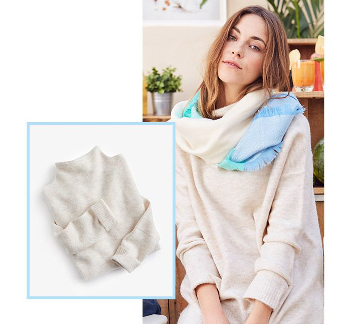 joules cream roll neck jumper modelled by female