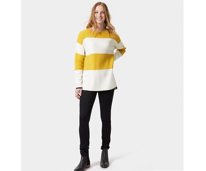 women modeling black skinny jeans and striped sweatshirt