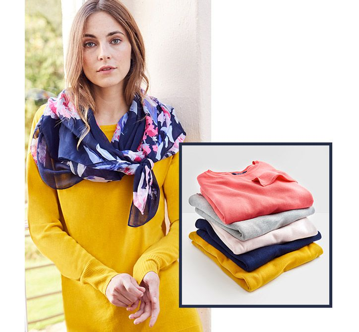 joules selection of colourful v neck jumpers