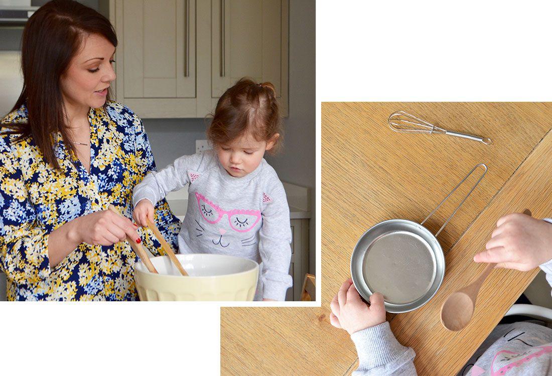 mother and daughter mix pancake ingredients