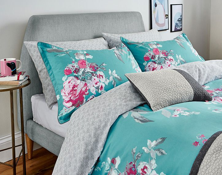 joules aqua floral bedding and cushions