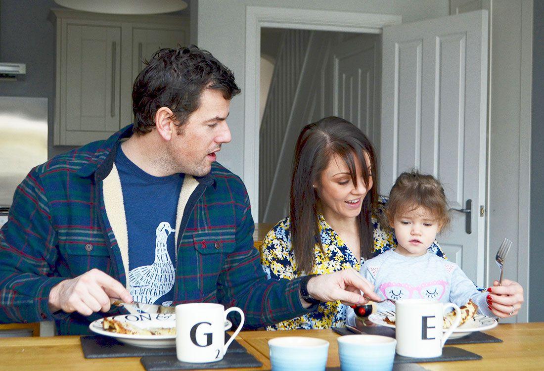 family enjoying pancake day together