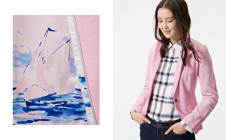 joules pink tailored blazer with lining detail