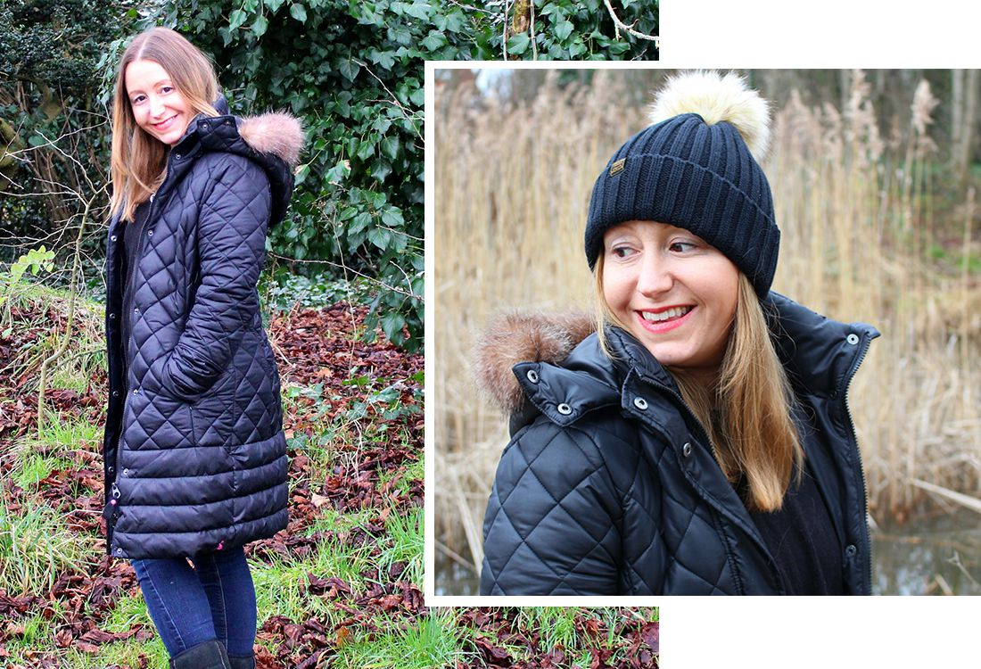 blogger wears padded waterproof coat and bobble hat