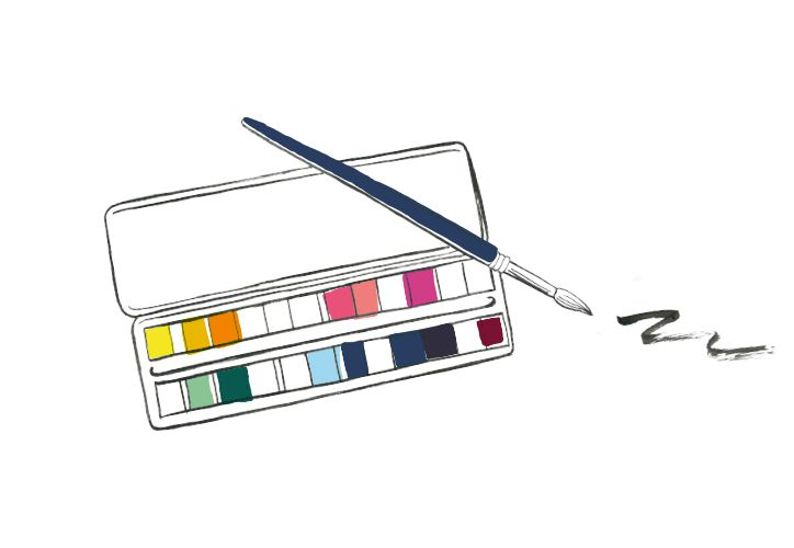 illustration of paint palette and brush