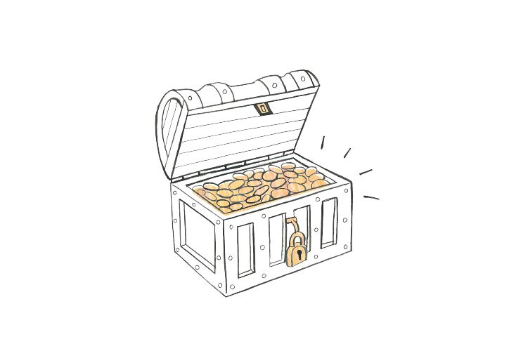 illustration of treasure chest and gold treasure