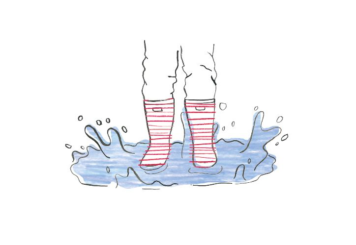 hand drawn illustration of wellies splashing into puddle