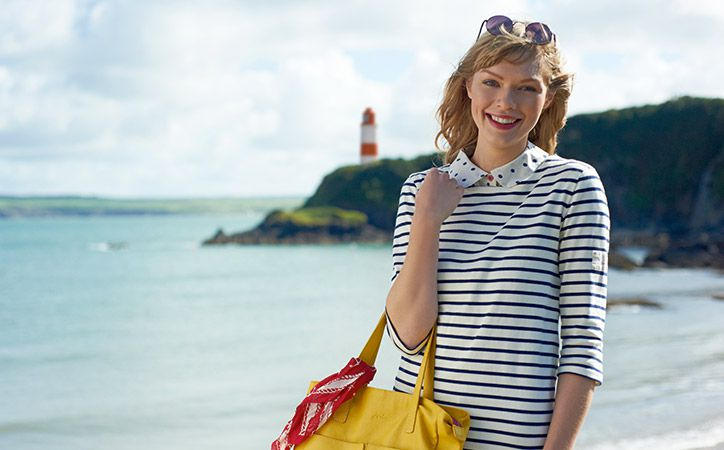 joules classic breton striped top in sea side background