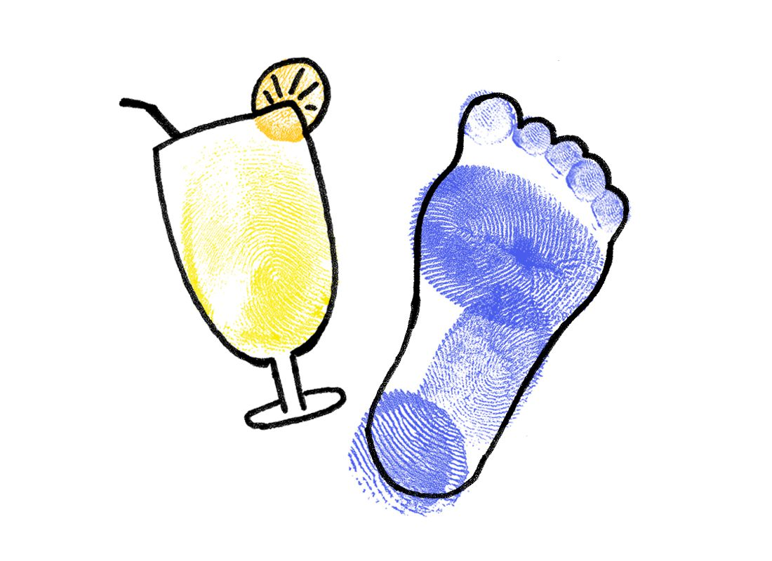 illustration and finger painting of a cocktail and foot