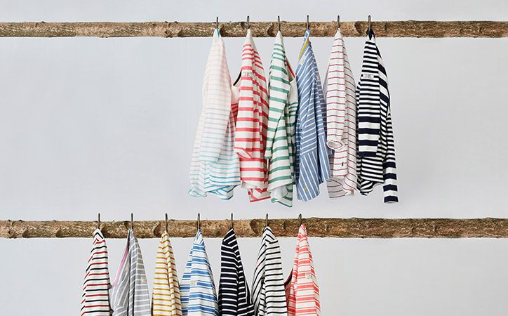 styled brand rail of striped nautical inspired harbour breton tops