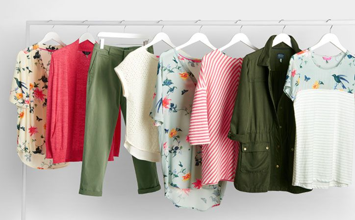 joules collection of khaki pieces for the season with coordinated prints on a rail