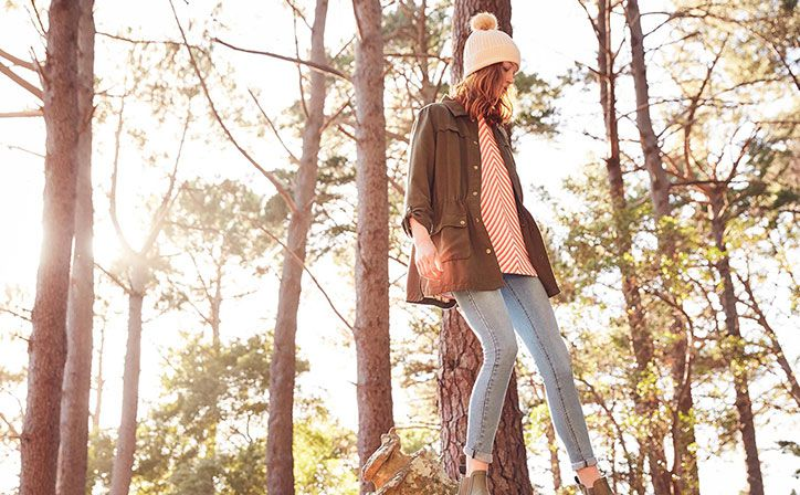joules cassidy khaki jacket styled with striped sweatshirt and blue denim monroe jeans