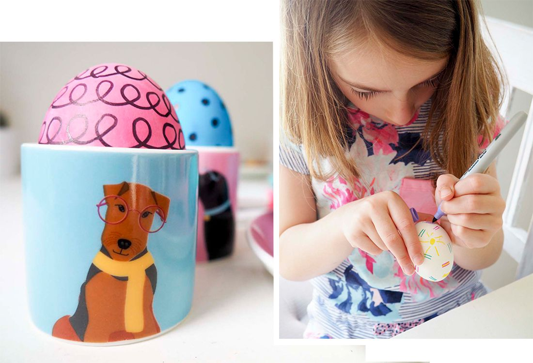 decorate the dyed eggs with pens