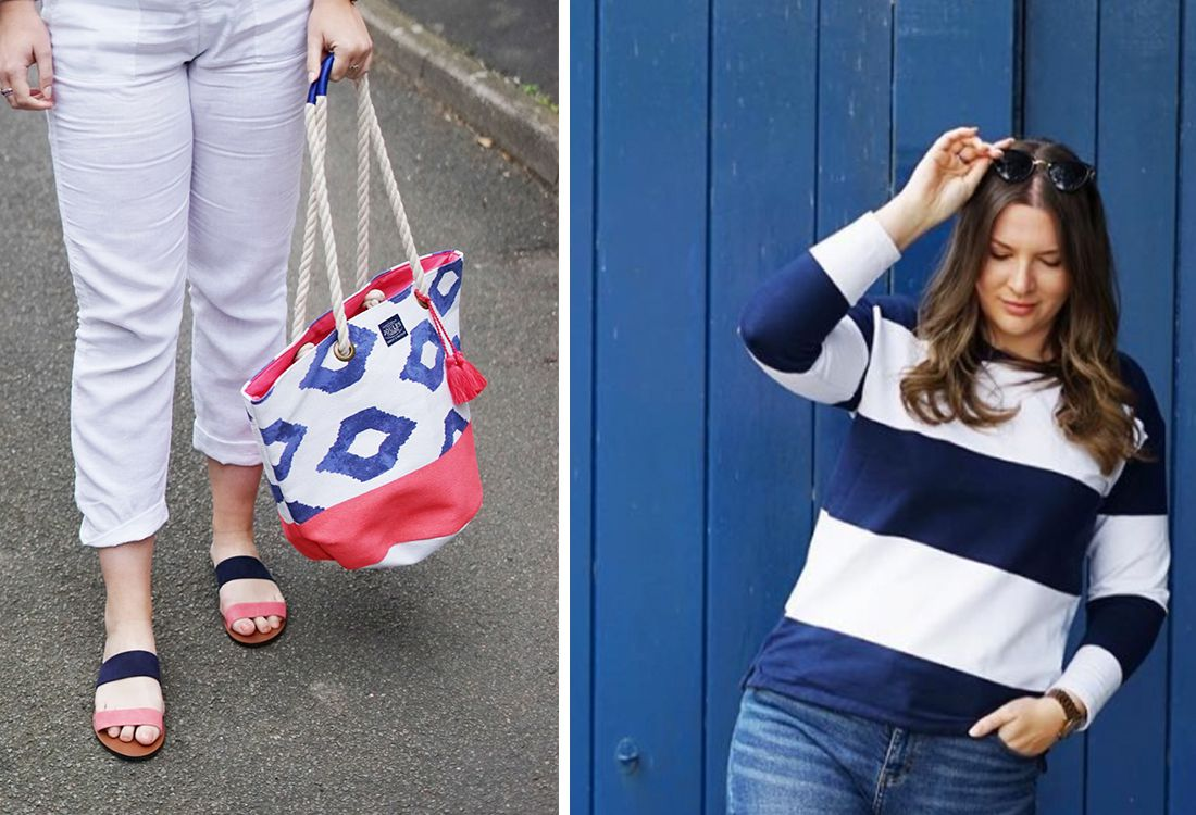 Kat Preist wears striped sweatshirt with leather sandals and festival beach bag