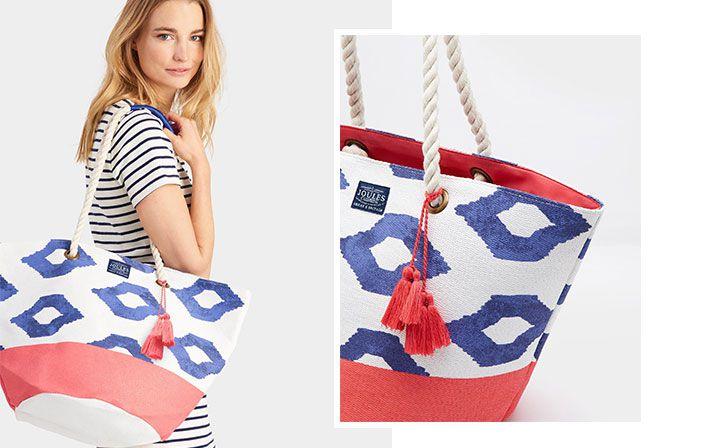 joules festival printed tassel bag