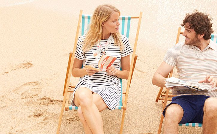 Joules striped riviera dress on the beach