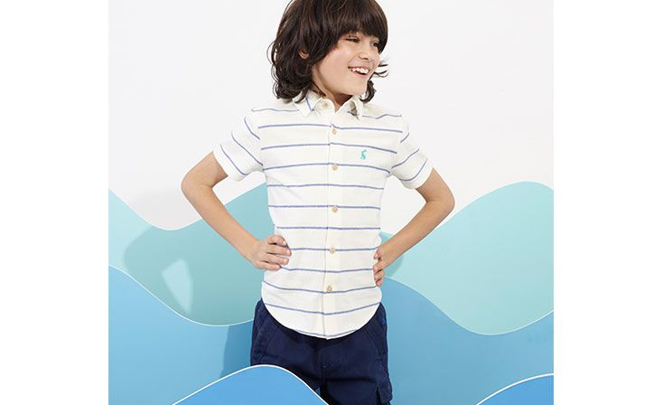 joules boys striped short sleeve shirt