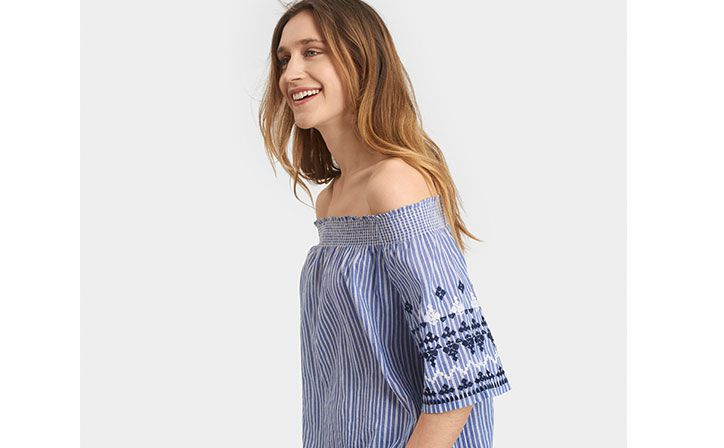 joules embroidered off the shoulder summer top