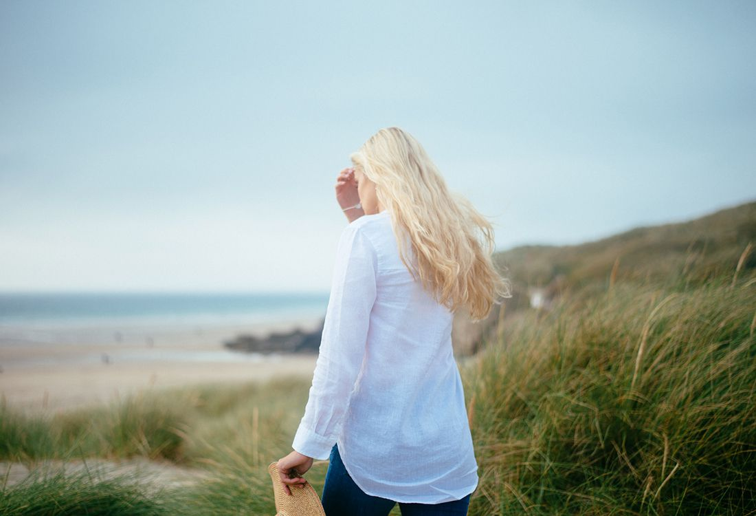 Joules tailored white shirt perfect for summer walks along the coast