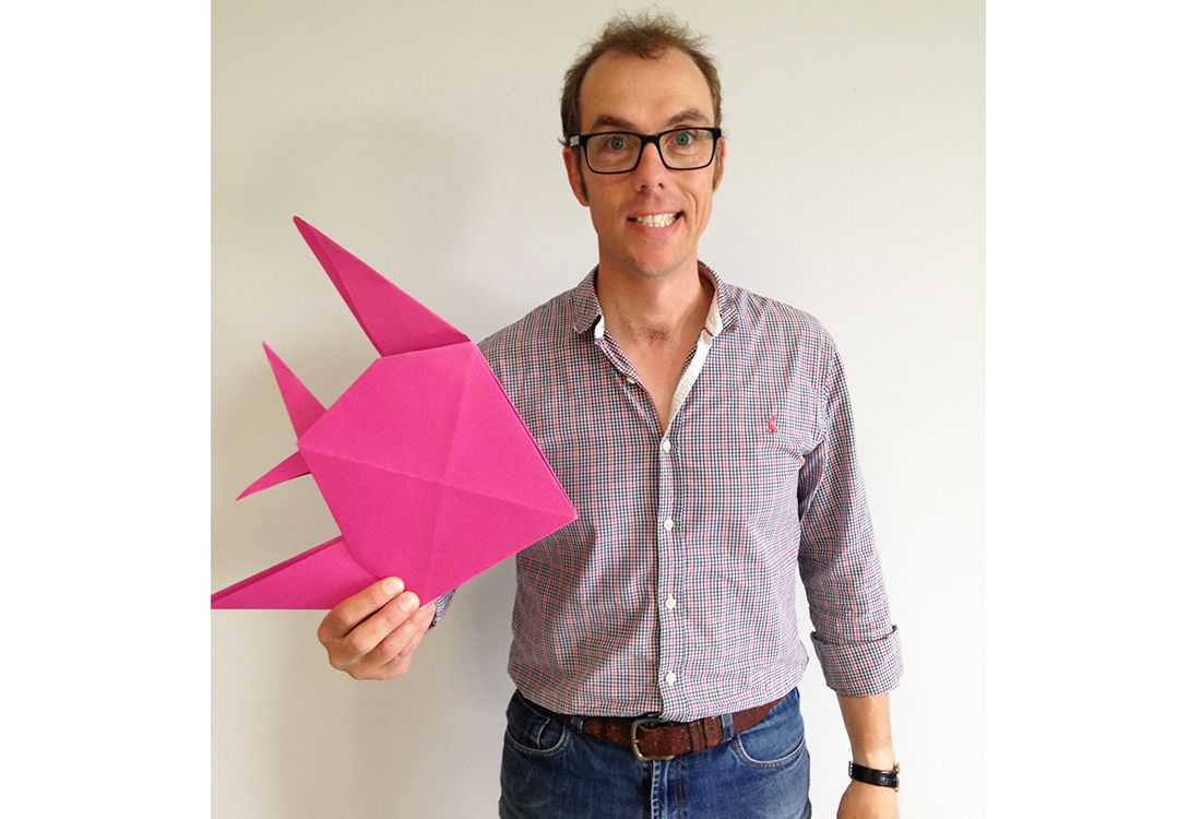 Tom our photography manager has made an impressive pink paper fish