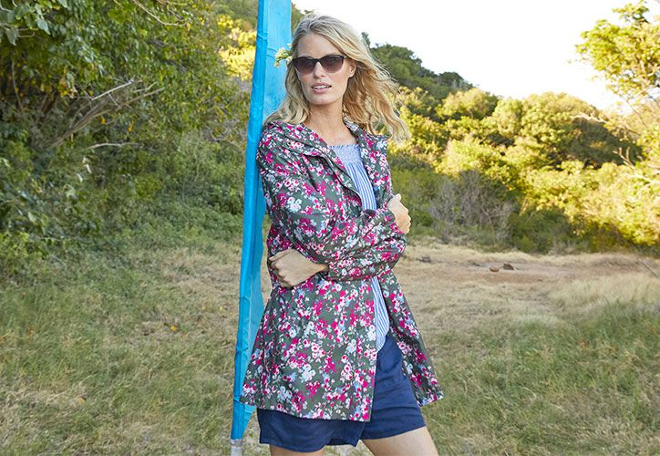 joules floral go lightly waterproof packaway jacket perfect for summer festivals