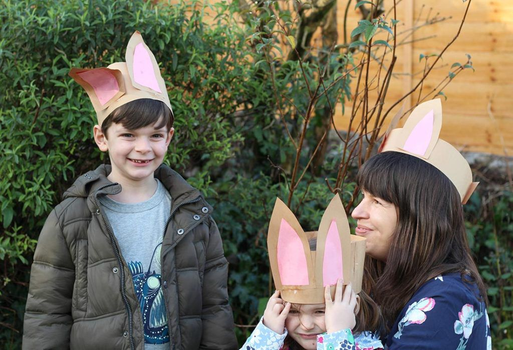 Cut out ear shapes from your brown paper and stick pink paper in the inside for the inner ears. Then, stick these onto your headbands. Once the glue has dried pop your rabbit ears on and you are ready to go back outside and practice your best rabbit jumps!