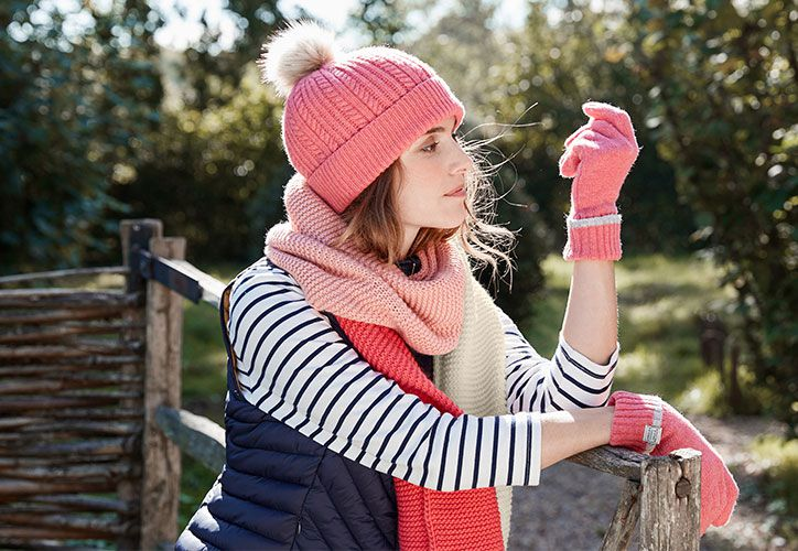 joules winter accessories for women including bobble hat scarf and gloves