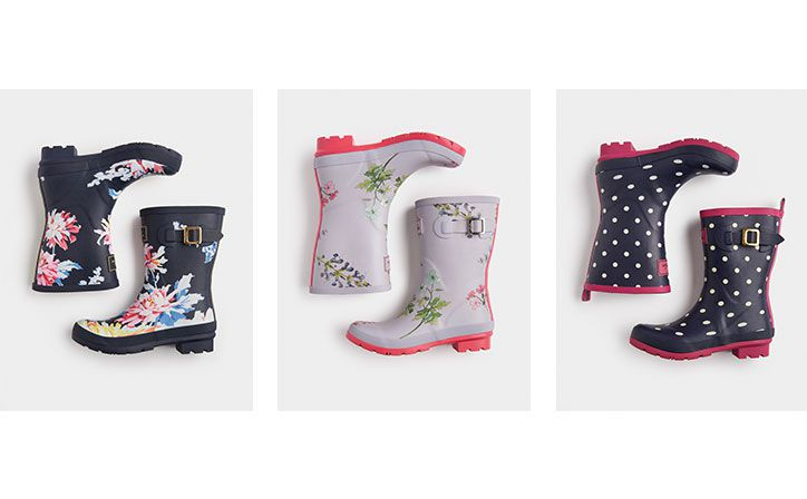 Joules collection of printed women's wellies