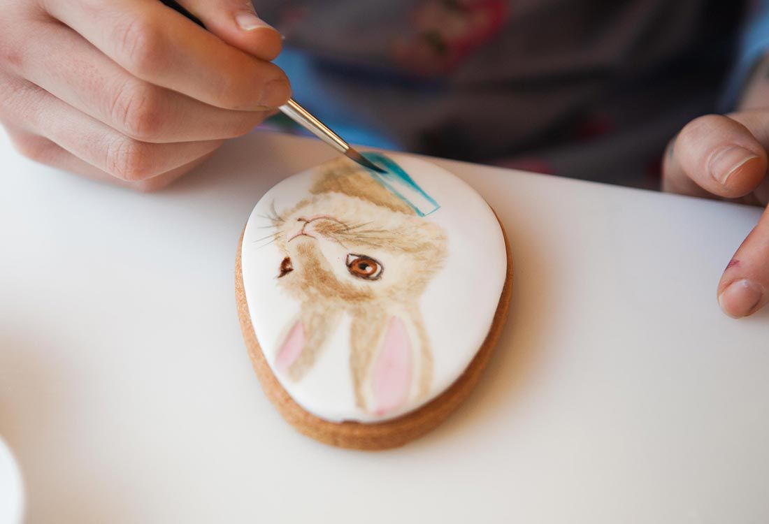 how to bake and decorate peter rabbit themed biscuits with edible paint