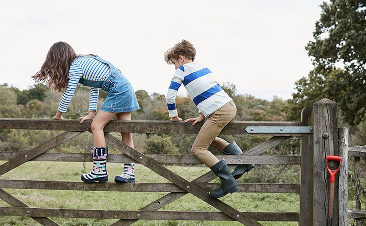 children play in countryside in their wellies and Little Joule new collection