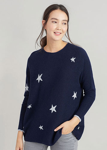 Woman wearing Joules navy blue jumper with stars